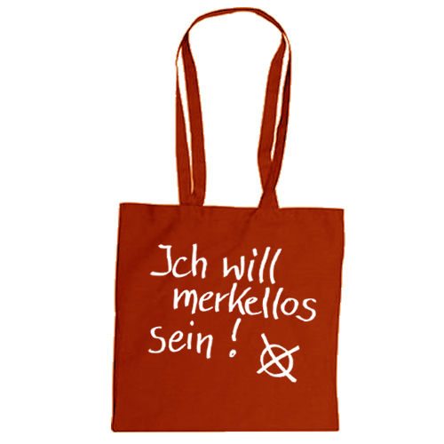 "Cotton bag ""Ich will merkellos sein"""