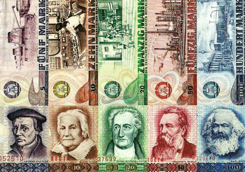 Postcard-GDR Bank notes